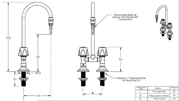 Item # LG-DD-HC1, Lab Faucet, Deck Mount, Hot & Cold Duraline ...